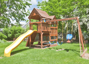 a swing set for small yards is ready to use