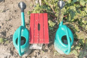 a red gardening stool